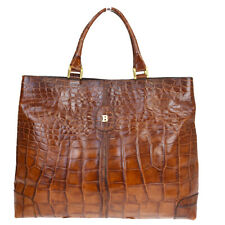 Authentic BALLY Logos Hand Tote Bag Embossing Leather Brown Italy 08MA329