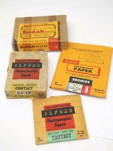 Vintage Ilford & Kodak Contact Paper & Glass Plates
