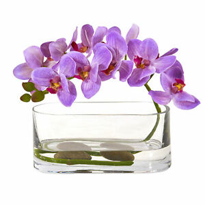 Nearly Natural Phalaenopsis Orchid Artificial Arrangement in Glass Vase Purple