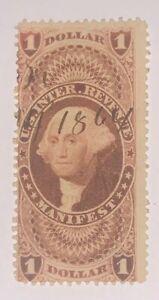 Travelstamps: US Stamps Scott #R72c Used Scott Value $40.00 Pen Cancel Manifest
