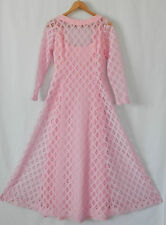 Vtg ILGWU Union Dress Pink Lace Maxi Fit-Flared Long Sleeve Size S/M