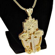 "Jesus Piece Chain Medium Combo Pendant Gold Finish Hip Hop Franco Necklace 36"""