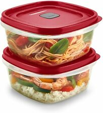 LOT OF 2 CONTAINERS RUBBERMAID EASY FIND VENTED FOOD STORAGE 5 CUP EACH