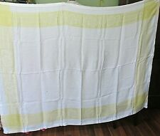 """Vintage Yellow And White Table Cloth / 57"""" X 75"""""""