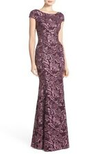 XSCAPE EMBROIDERED LACE MERMAID PLUM GOWN DRESS sz 2