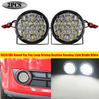 2pcs 12V 18LED DRL Round Car Fog Lamp Driving Daytime Running Light Bright White