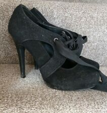 Miss Selfridge Size 4 black stiletto shoe with ribbon ties.