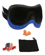 3D Contoured Blackout Sleep Eye Mask with Ear Plugs and Carry Pouch