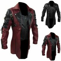 Mens Steampunk Gothic PU Leather Trench Coat Jacket Overcoat Motorcycle Blazer