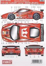 STUDIO27 1/24 FERRARI 458 GT2 LUXURY RACING #58, #59 LEMANS 2012 DECAL