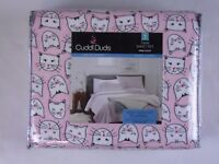 Cuddle Duds Pink Cats Heavyweight Flannel Sheet set