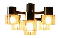 Deckenleuchte Messing & Glas Lampe 7flammig Vintage 60er 70er Jahre