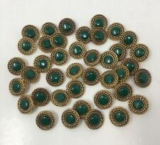 3 Green Faux Rhinestone Shank Buttons with Antique Gold Circular Rope Edge AA43