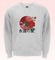Japan Love Sweatshirt Forever Kanji Ying Yang Jumper Flowers Feelings Flag