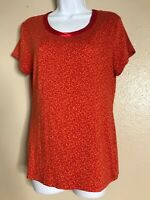 Banana Republic Womens Size M Red Luxe Touch T Shirt Short Sleeve Scoop Neck