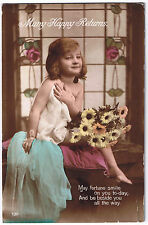 Many Happy Returns -  Vintage Postcard - Child with Flowers Design