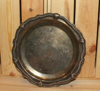 Vintage ornate engraved metal platter tray