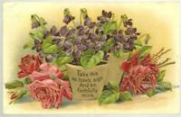 Violets in Gold Flower Pots Roses Love Poem Vintage Greetings Postcard 1911a