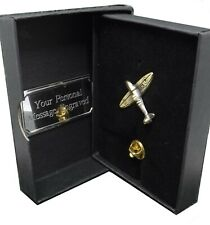 Spitfire Plane Aeroplane Gift Tie Lapel Pin Badge in a Personalised Gift Box
