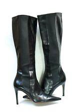 Lambertson Truex Black Leather knee High Stiletto Heel boots Size 36 EU /6 US