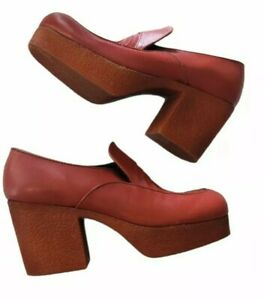 Vintage 70s mens leather platform shoes Disco 9