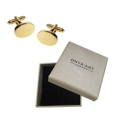 Plain Oval Gold Cufflinks & Gift Box - Ideal For Engraving By Onyx Art