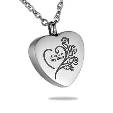 US Fast Always in My Heart Rose Keepsake Memorial Urn Pendant Necklace Jewelry