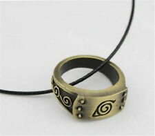 Anime Naruto Leaf Symbol Alloy Charm Necklace Ring Pendant Cosplay Gifts