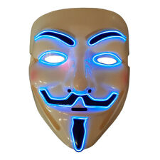 EL Wire Guy Fawkes Mask Halloween Vendetta Glow Mask Blue LED Light Up