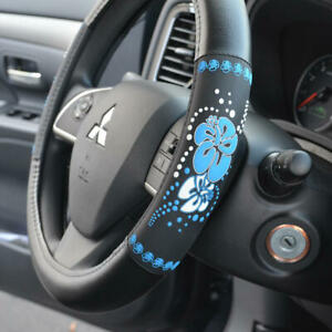 Blue Flower Leather Steering Wheel Cover Soft Grip Standard Fit Cars Vans Trucks