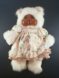 Raikes Originals New Applause Wooden Face Charmaine Cat w/ Pink Dress & Bow