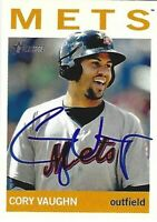Autographed 2013 Topps Heritage Minors #60 Cory Vaughn New York Mets Tough Sig