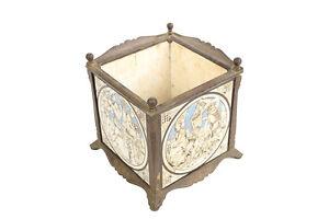 Minton 19th century Ceramic Pictorial Tiles in a Bronze Planter box c1880s