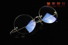 Retro Round Eyeglass frames Eyewear rimless Spectacles optical glasses silver RX