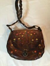 New listing Vintage Tooled Leather Hippie Handbag - Large