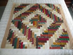 "Vintage LOG CABIN PATCHWORK Cotton TIED QUILT Throw or Wall Hanging - 40"" x 46"""