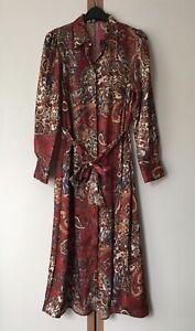 ZARA RED PRINTED SHIRT DRESS WITH BELT SIZE XS 8