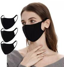 Reusable Face Mask Black Fashion Washable Mask Unisex (3 Pack)