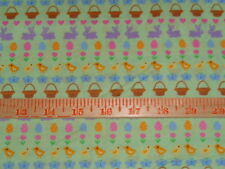 1 7/8 yards Mini Baskets, Chicks, Easter Eggs, Flowers 100% Cotton Fabric- 44""