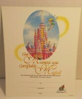 Walt Disney World 25th Anniversary Magical Moment Certificate 8 x 10