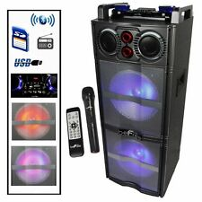 "BEFREE Dual 10"" Inch SUBWOOFER BLUETOOTH PORTABLE PARTY DJ SPEAKER LIGHTS USB FM"
