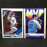 Lot (2) 2019 Optic Clayton Kershaw MVP #11 & Base #178 Donruss Panini