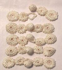 "4"" FROG Closures CROCHET FLOWERS ( 5 ) - IVORY SHEEN"