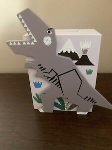 Gisela Graham Dinosaur Wooden Piggy Bank Grey Money Box Savings Comes Boxed