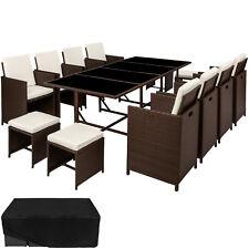 B-Ware Poly Rattan Sitzgarnitur Gartenmöbel Garnitur Lounge 8x Stuhl Tisch