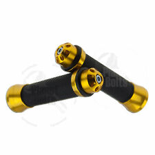 "Handle Bar 22mm Left Right Gold Ends Universal CNC Apollo Hand Grip 7/8"" Rubber"