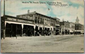 "1910 CHANUTE, Kansas Postcard ""Main Street East from Lincoln Ave."" C.U. Williams"