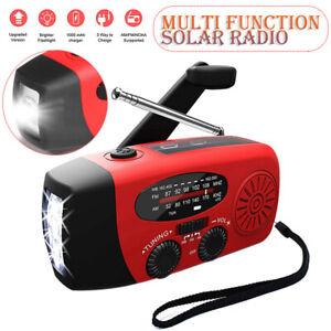 Portable AM FM Hand Crank Solar Wind Up Radio Dynamo USB Charger Light Gifts
