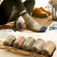 5 Pack Men Wool Cashmere Socks Cotton Winter Retro Style Warm Thick Casual Dress