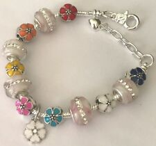 ❤️European CHARM BEADS BRACELET FLOWERS Beads w/ Sterling Silver Plated Chain❤️